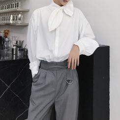 VEAZ - Long-Sleeve Tie-Neck Plain Shirt