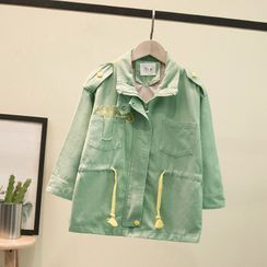 Ouron - Kids Drawstring-Waist Hooded Zip-Up Jacket