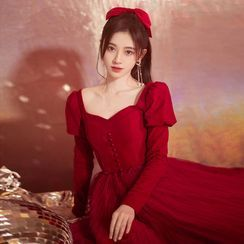 Sennyo - Puff Sleeve Square Neck A-Line Evening Gown