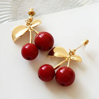 Genuine Leather Cherry Earrings