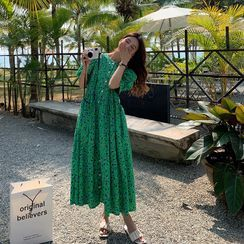 Clover Dream - Maternity Puff-Sleeve Floral Print Midi A-Line Dress
