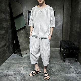 Aozora(アオゾラ) - Set: Striped Elbow-Sleeve T-Shirt + Cropped Harem Pants