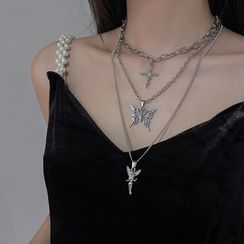 Show Mind - Rhinestone Angel / Cross /  Butterfly Pendant Necklace / Set