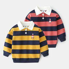 贝壳童装 - 儿童条纹马球卫衣