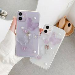 Xianto - Faux Pearl Butterfly Transparent Phone Case - iPhone 11 Pro Max / 11 Pro / 11 / SE / XS Max / XS / XR / X / SE 2 / 8 / 8 Plus / 7 / 7 Plus
