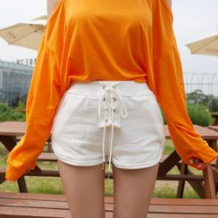 BONJOURLADY - Lace-Up Front Shorts