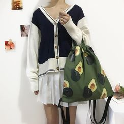 TangTangBags - Avocado  Print Canvas Backpack