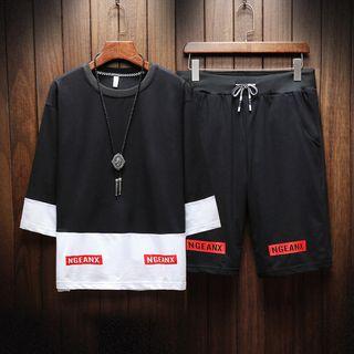 Aozora - Set: 3/4-Sleeve Paneled T-Shirt + Shorts