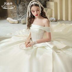 MSSBridal - Ruffle Trim Off-Shoulder Wedding Ball Gown
