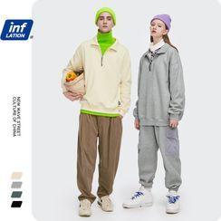 Newin - Unisex Collared Half-Zip Loose Sweatshirt
