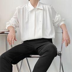 ANCHO(アンチョ) - Asymmetrical Plain Long Sleeve Oversized Shirt