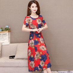 Onespark - Short-Sleeve Flower Print Midi A-Line Dress / Undershorts