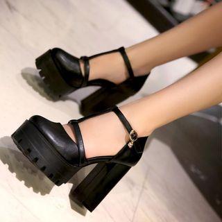 Freesia - T字带粗跟厚底鞋