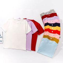 Carmenta(カルメンタ) - Elbow-Sleeve Plain T-Shirt