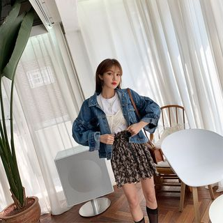 PPGIRL - Flap-Pocket Front Denim Jacket