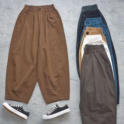 Natizzi - 高腰純色寬腿工裝褲