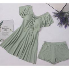 ASUMM - 套裝: 短袖繫帶泳裙 + 短褲