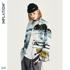 Newin - 实验室印花宽松长袖衬衫