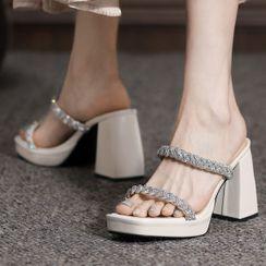 Weiya(ウェイヤ) - Platform Chunky-Heel Slide Sandals