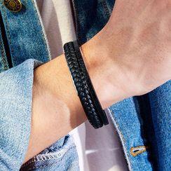 Andante - Faux Leather Braided Bangle