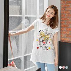 OrangeBear - 竹节棉前短后长T恤