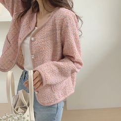 CHERRYKOKO - Faux-Pearl Button Tweed Jacket