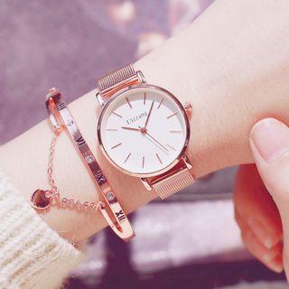Tacka Watches - Set: Milanese Strap Watch + Heart Pendant Roman Numerals Bangle + Case