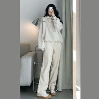 Apotheosis - Set: Fleece-Lined Letter Print Polo Shirt + Straight Leg Pants