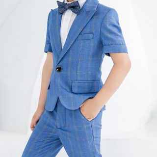 Snow Castle - Kids Short-Sleeve Shirt / Short-Sleeve Blazer / Cropped Dress Pants / Vest / Bow Tie