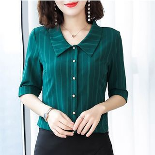 In the Mood - Plain Elbow-Sleeve Shirt