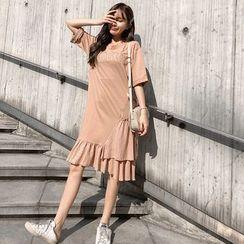 EZ Life - Maternity Short-Sleeve Letter Embroidery Dress