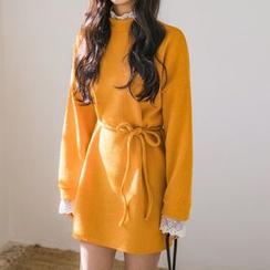Envy Look - Self-Tie Lace-Trim Mini Dress