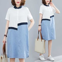 RAIN DEER - Short-Sleeve Contrast Panel Shirtdress