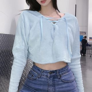 Sugarcoat - Long Sleeve Lace-up Chenille Crop Pullover
