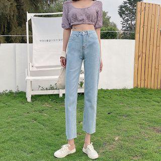 Omolon - 高腰九分直筒牛仔裤
