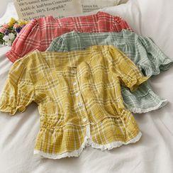 Lemongrass - Lace-Trim Puff-Sleeve Checker Crop Blouse