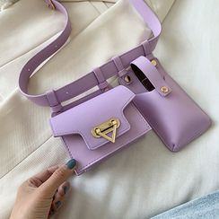Ginadore(ジナドーレ) - Plain Belt Bag with Phone Pouch