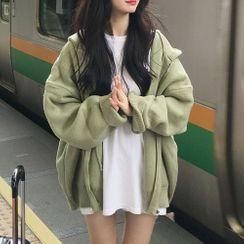 JIUHOJI - Hooded Zip Cardigan / Lace Open Front Jacket