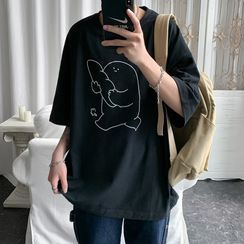 Filmas - Printed Elbow-Sleeve T-Shirt