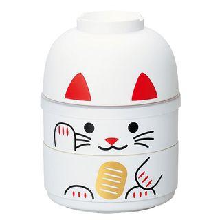 Hakoya - Hakoya Kokeshi 2 Layers Lunch Box Lucky Cat White