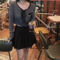Avox - Long-Sleeve  Striped Tie-Neck Cropped Top / Plain Pleated Mini Skirt