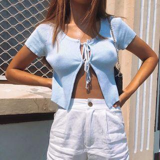 Femme Cradle - Ribbed Short-Sleeve Front-Tie Crop Top