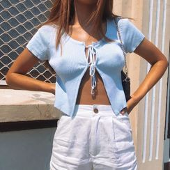 Femme Cradle - Ribbed Short-Sleeve Front-Tie Crop Top