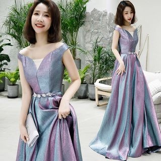 Sennyo - Off-Shoulder Glittered Gradient A-Line Evening Gown