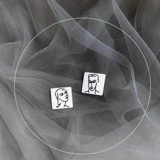 HayHill - Non-matching Couple Square Earring
