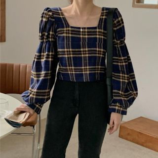 ZENME - Puff-Sleeve Plaid Blouse