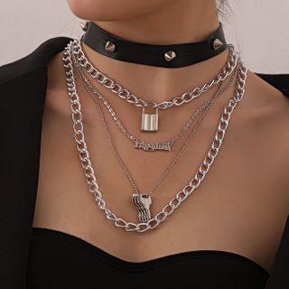 YASIN - 合金字母锁及钥匙饰钉仿皮多层贴脖项链