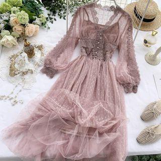 Knutsford - Long Sleeve V-neck Polka Dot Laced A- Line Dress