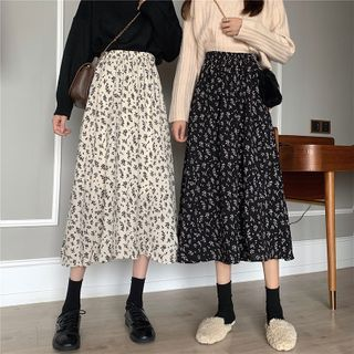 Mikiko - Floral A-Line Midi Skirt