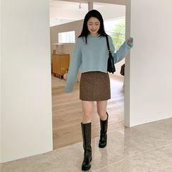FROMBEGINNING(フロムビギニング) - Herringbone Wool Blend Miniskirt